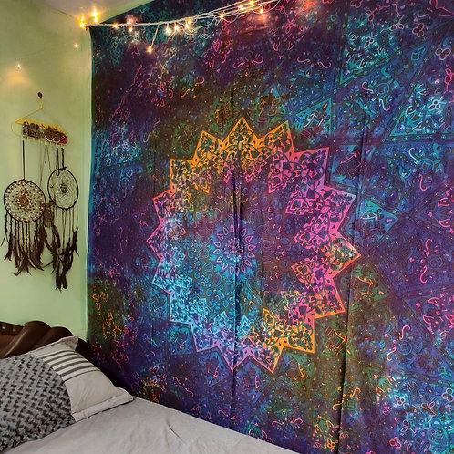 Elephant Star Mandala Tapestry Tie and Dye