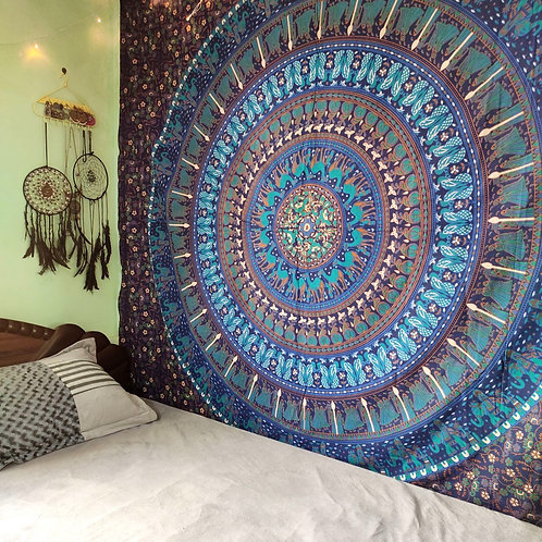Peacock and Elephant Mandala Hippie tapestry in Blue and Green