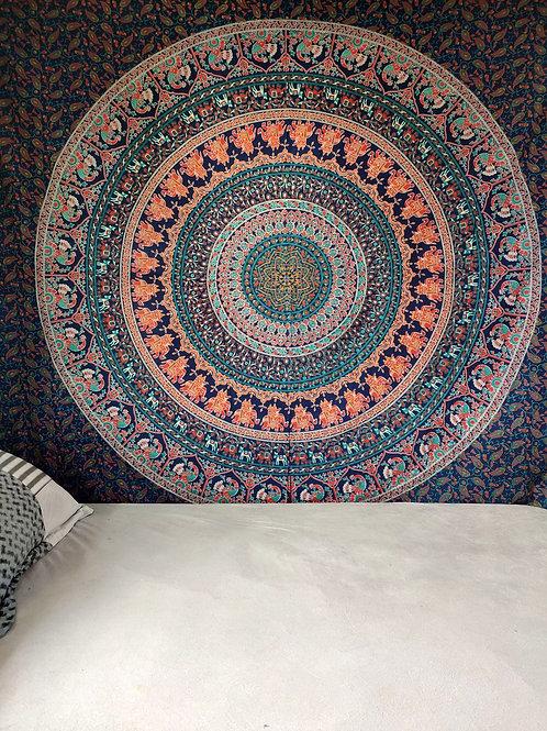 Elephant & Peacock Mandala Tapestry