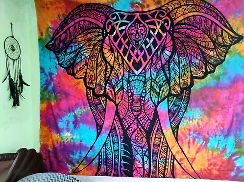 Tie And dye Elephant Tapestry in Multi Color
