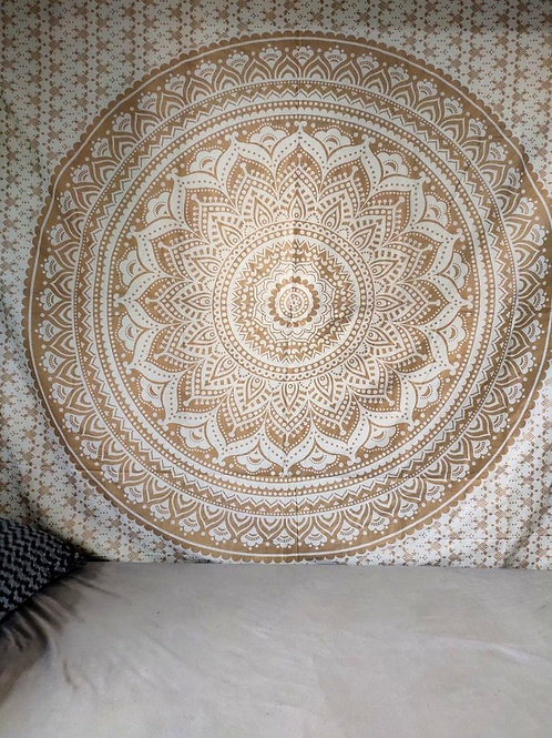 Golden And White Mandala Tapestry