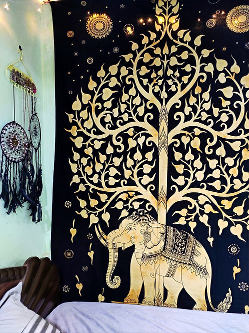 Tree Of Life Elephant Tapestry Yellow