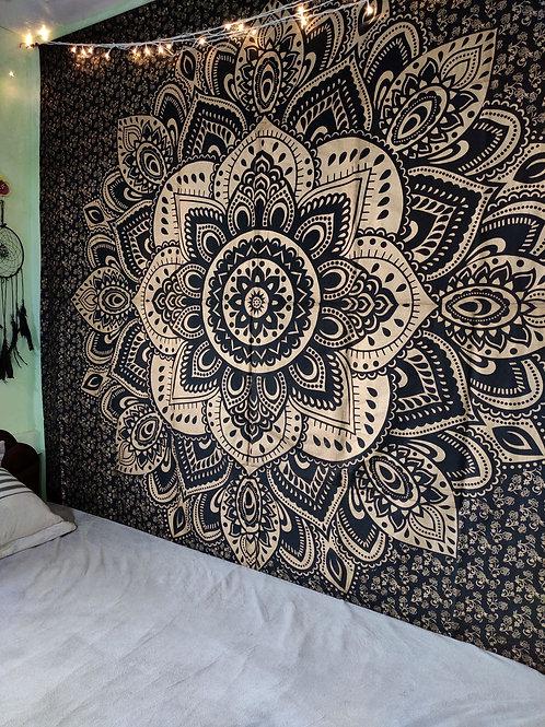 Golden and Black Floral Mandala Tapestry