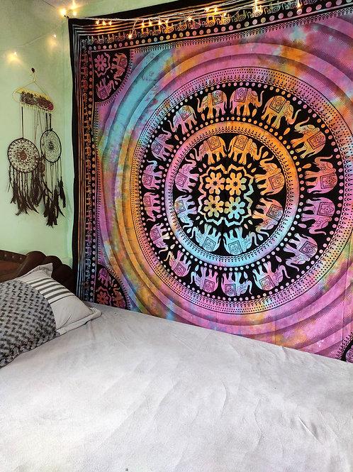 Tie and Dye Elephant Mandala Tapestry