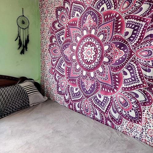 Pink & Purple Floral Mandala Tapestry
