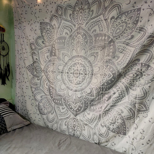 Silver and White Mandala Tapestry