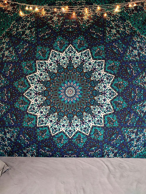 Twin Star Blue Mandala Tapestry