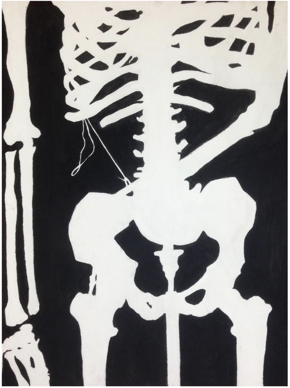 """5.  """"Skeletal Synopsis"""", positive and negative space, charcoal on paper, Drawing I, Fall 2017"""