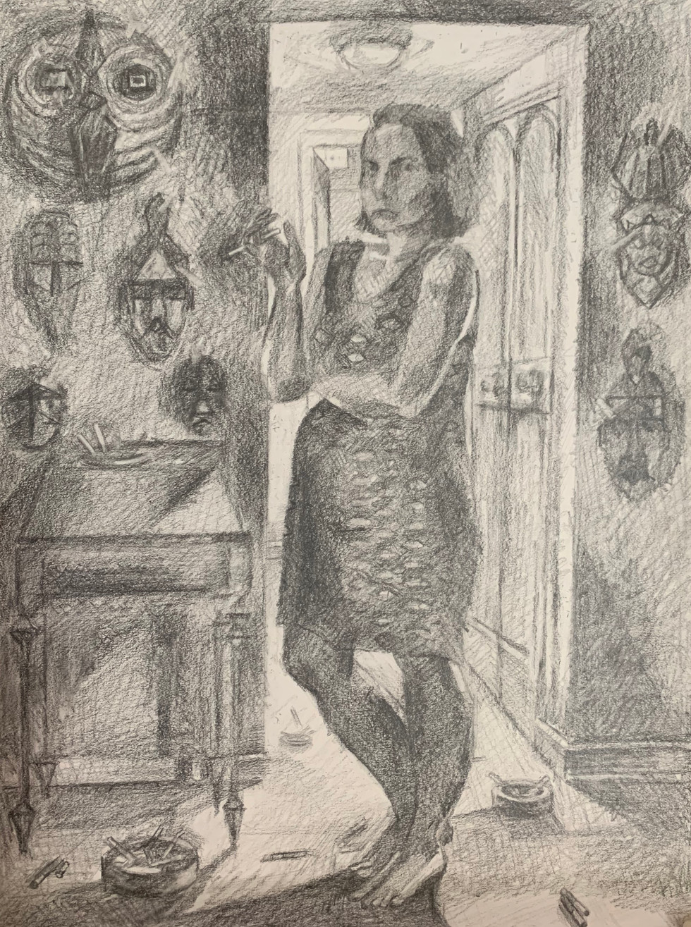 "5.  ""Fish Dress and Smoke"" Graphite on paper 20"" x 14"" 2020"
