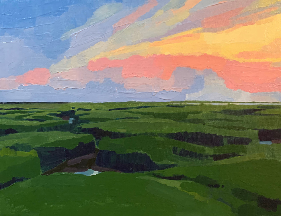 "3.  ""Sky Over Marsh"" Acrylic on canvas board 14"" x 20"" 2020"
