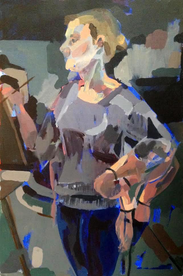 """Sarah in Class Acrylic on canvas 14"""" x 18"""" 2015"""