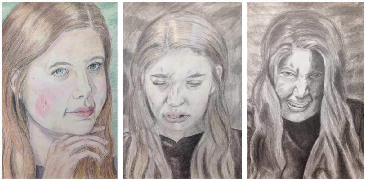 "10.  ""Triptych: Dr. Jekyll and Ms. Hyde, identity, colored pencil and charcoal on paper, Drawing II, Spring 2018"