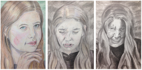 """10.  """"Triptych: Dr. Jekyll and Ms. Hyde, identity, colored pencil and charcoal on paper, Drawing II, Spring 2018"""