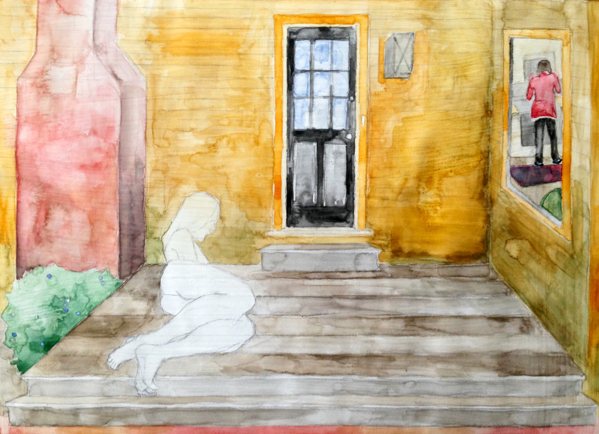 """Front Porch and Kitchen Watercolor and colored pencil on primed paper 14"""" x 20"""" 2017"""