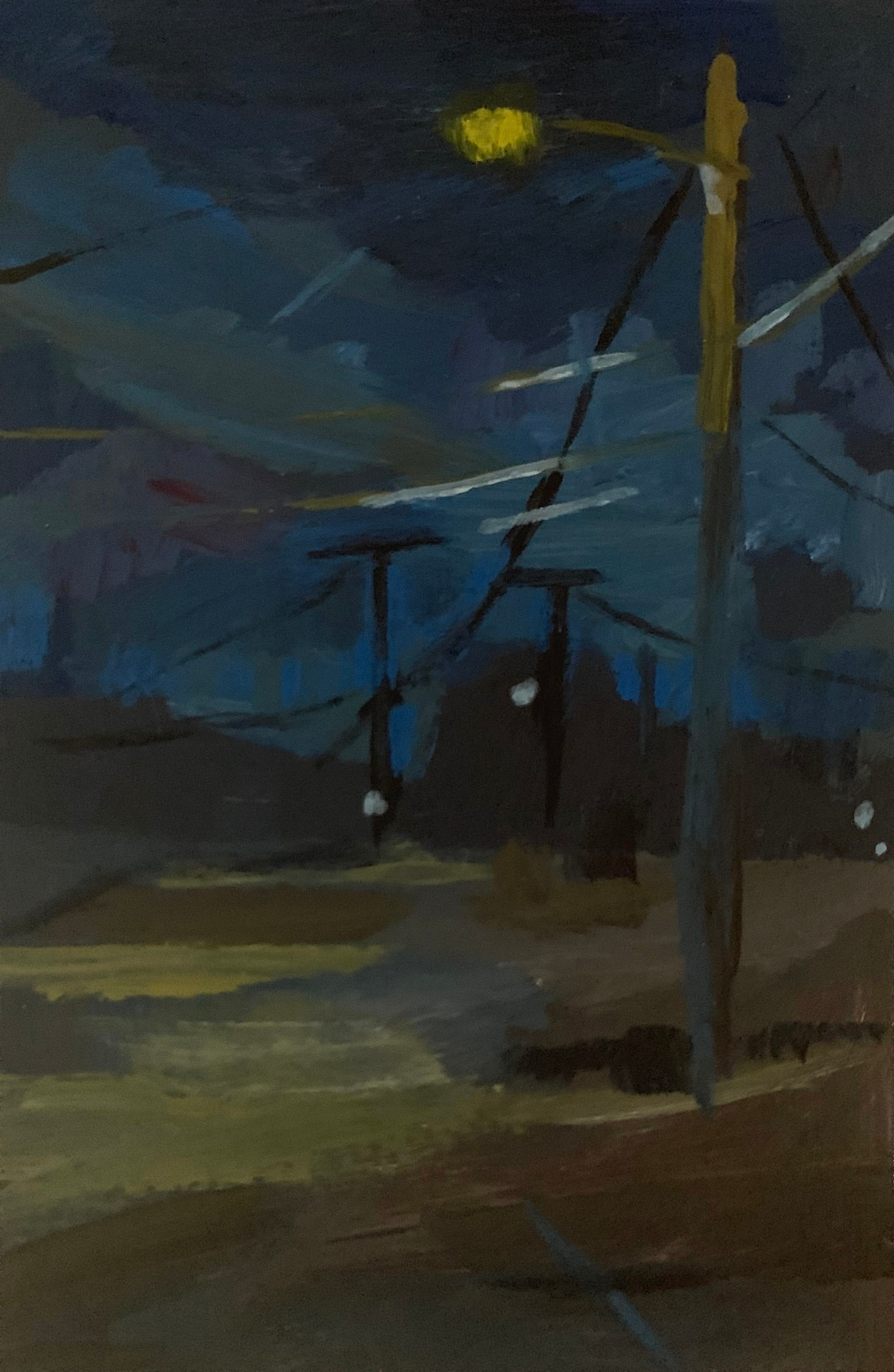 "Nocturne: Street Light (2020) Acrylic on paper 6"" x 4"" Available"