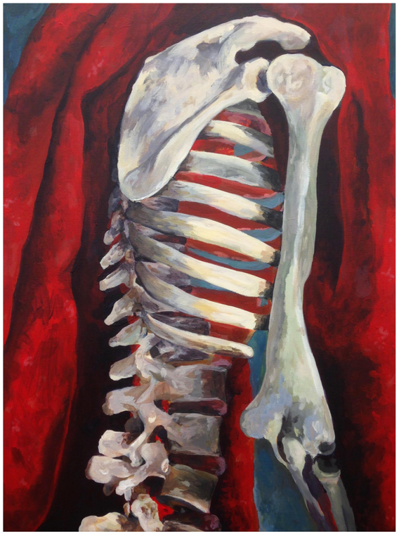 """3.  """"Skeletal Spaces"""", positive and negative space, acrylic on canvas, Painting I, Spring 2018"""