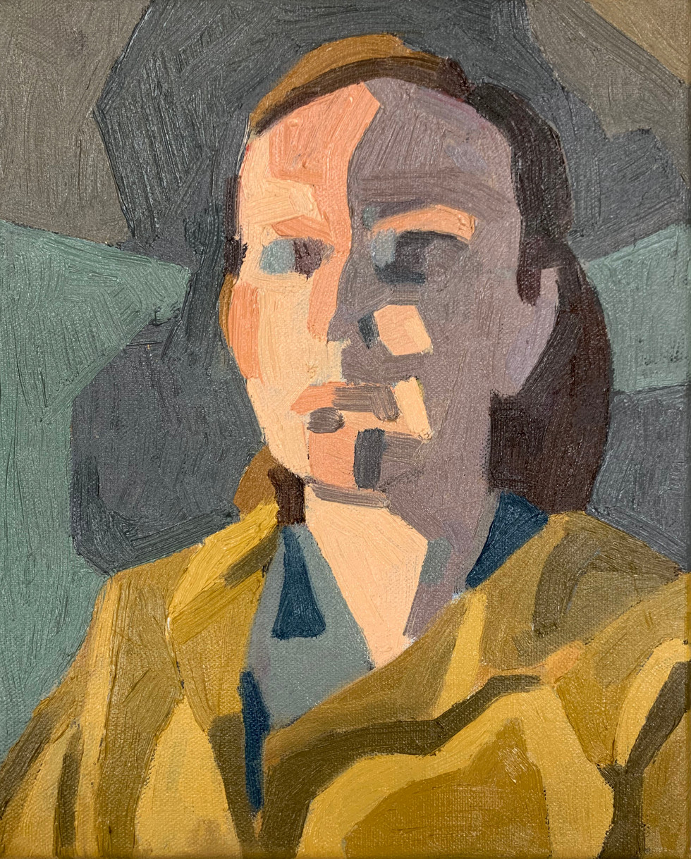 "Self-Portrait in Mom's Raincoat Oil on canvas 7"" x 5"" 2020"