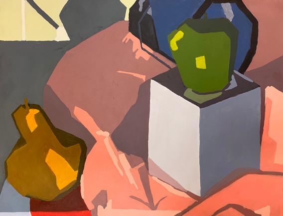 "12.  ""Still Life"", 3 values via planar analysis, acrylic on canvas, Painting I, Spring 2019"