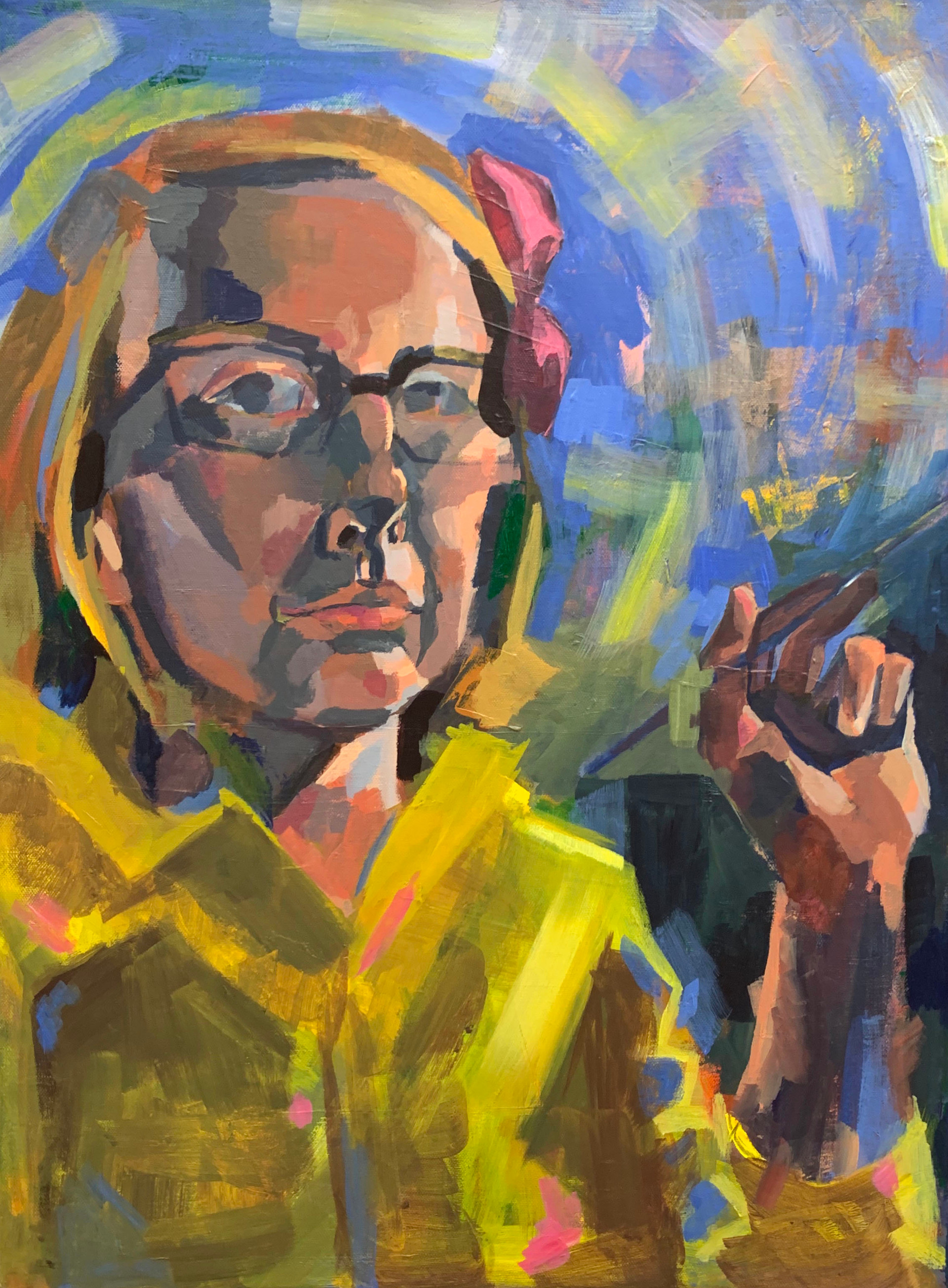 "Self-Portrait in Raincoat and Bow Acrylic on canvas 18"" x 24"" 2020"