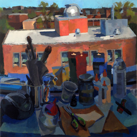 """8.  """"Rooftop Farewell"""" Acrylic on canvas 18"""" x 18"""" 2015"""