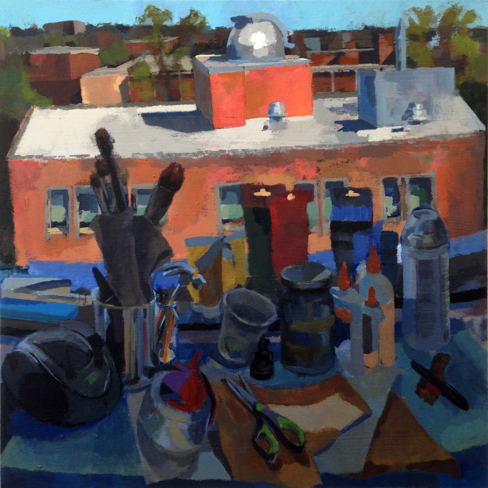 "8.  ""Rooftop Farewell"" Acrylic on canvas 18"" x 18"" 2015"