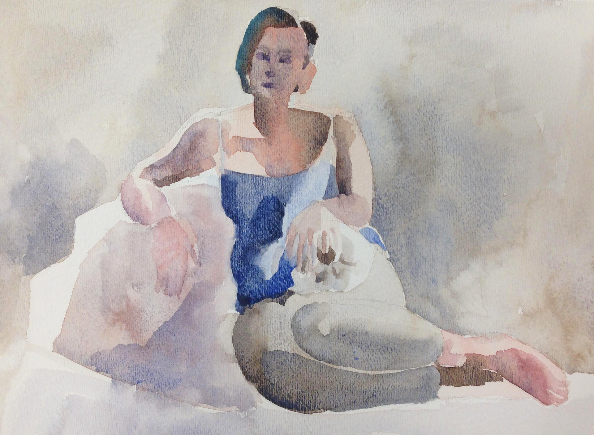 """Stephanie with Skull, Reclining Watercolor on paper 10"""" x 14"""" 2018"""