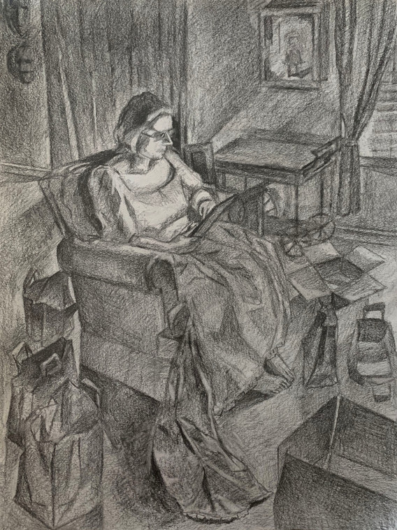 """Beginning and Ending Graphite on Paper 14"""" x 20"""" 2020"""