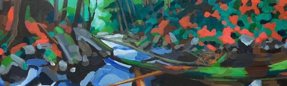 """Slide (2021) Acrylic on canvas 6"""" x 12"""" Available"""
