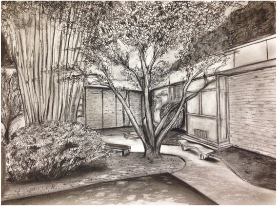 """11.  """"Landscape"""", composition, charcoal on paper, Drawing I, Fall 2017"""