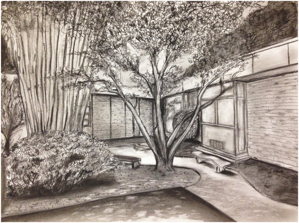 "11.  ""Landscape"", composition, charcoal on paper, Drawing I, Fall 2017"