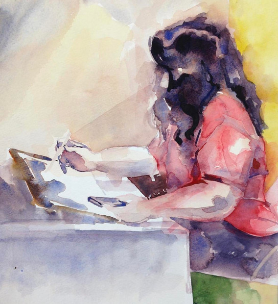 """Summer, Maria Watercolor on paper 10"""" x 8"""" 2016"""