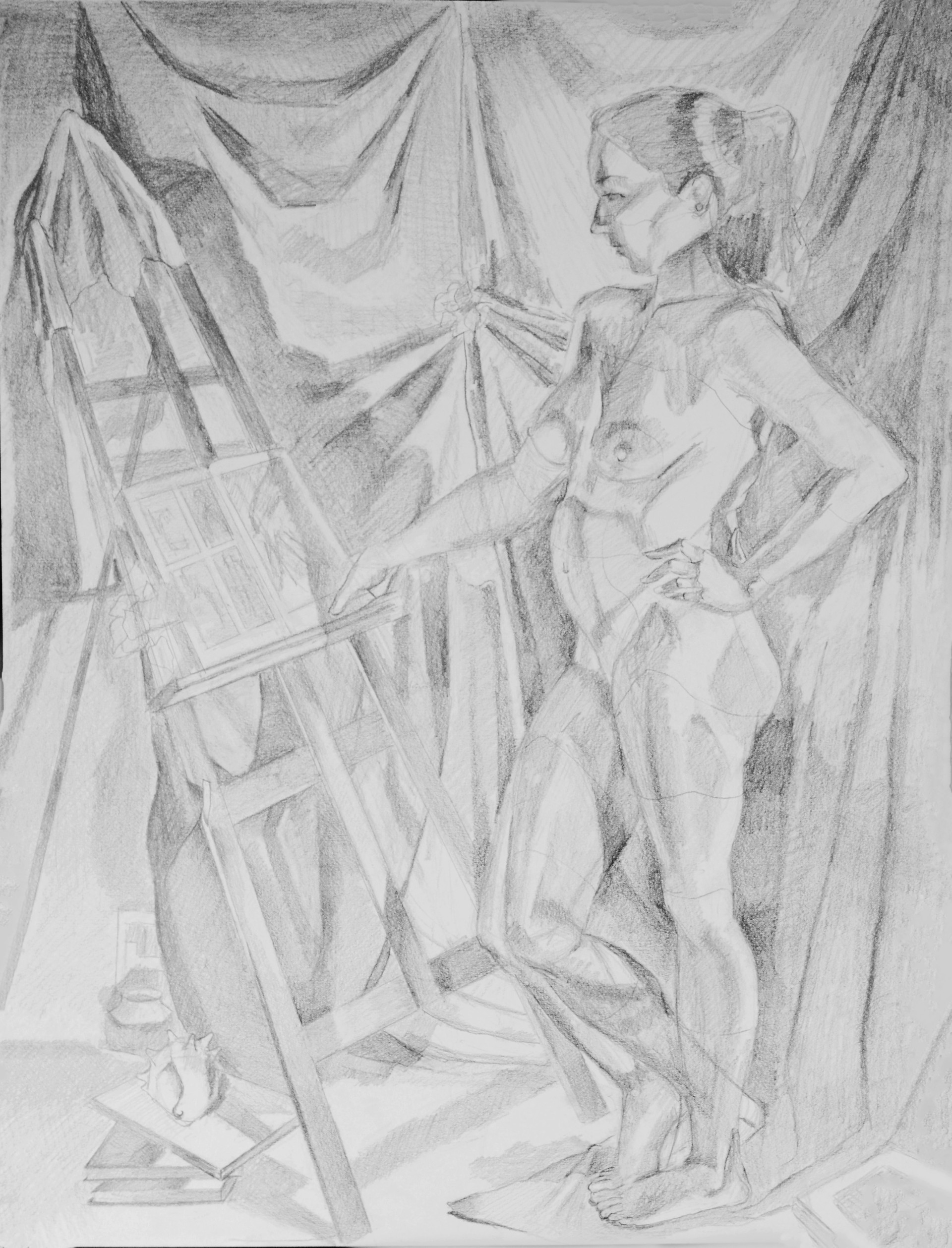 """The Art History Lesson Graphite on Paper 24"""" x 18"""" 2016"""