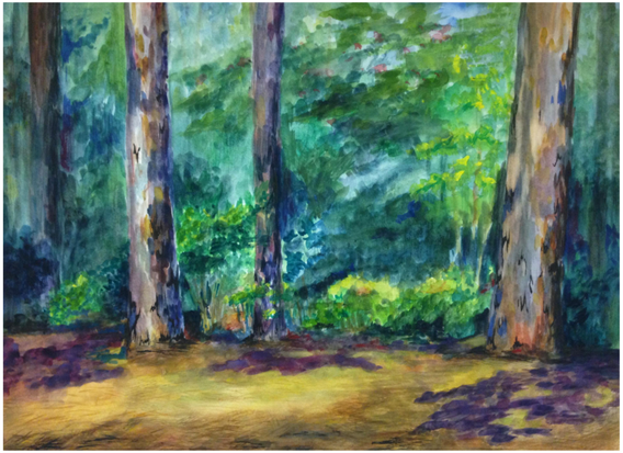 """4.  """"Campus Landscape"""", textural mark-making, watercolor on paper, Watercolor I, Summer 2017"""