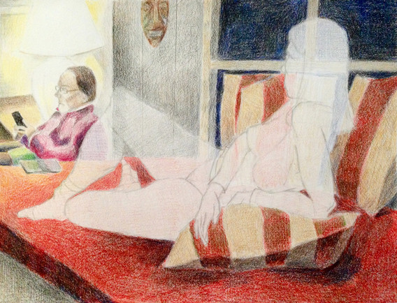 """Red Couch Colored pencil on paper 14"""" x 20"""" 2017"""