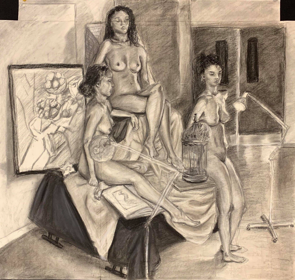 "7.  ""Three Alexandrias"", multiplied figures, charcoal and conte crayon on paper, Figure Drawing, Fall 2018"