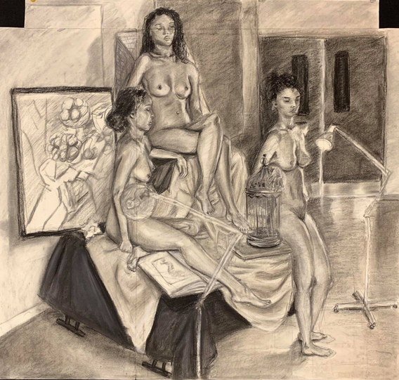 """7.  """"Three Alexandrias"""", multiplied figures, charcoal and conte crayon on paper, Figure Drawing, Fall 2018"""