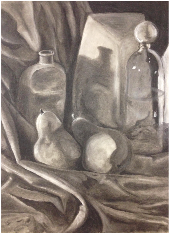 """2.  """"Still Life"""", drapery study via continuous value, charcoal on paper, Drawing II, Fall 2018"""