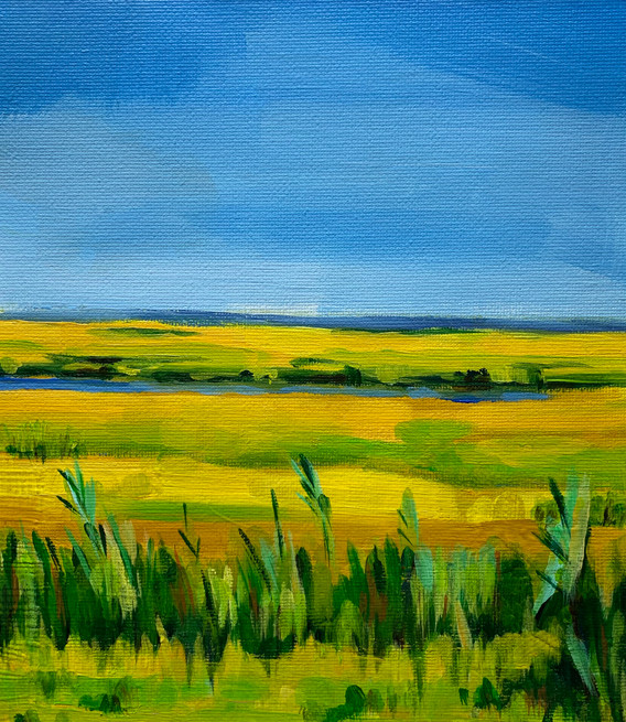 """Yellow Grass (2021) Acrylic on canvas 10"""" x 8"""" Available"""