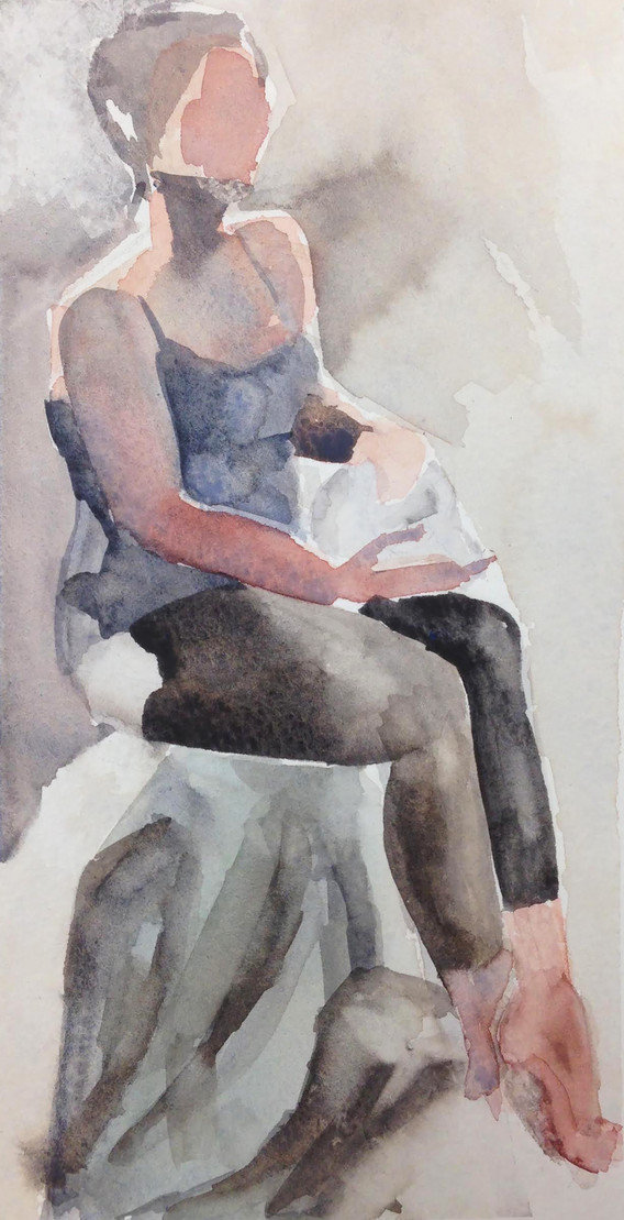 """Stephanie with Skull Watercolor on paper 8"""" x 4"""" 2018"""