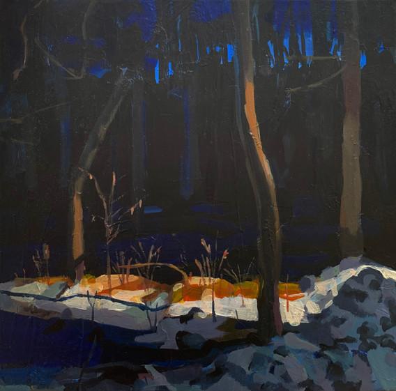 """Snow Light (2021) Acrylic on canvas 10"""" x 10"""" Available"""