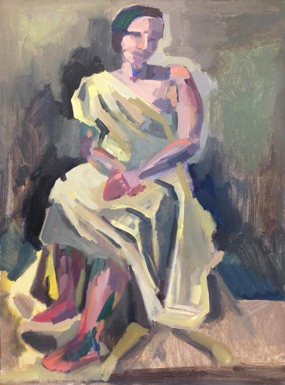 "Draped Figure Acrylic on canvas 24"" x 18"" 2018"