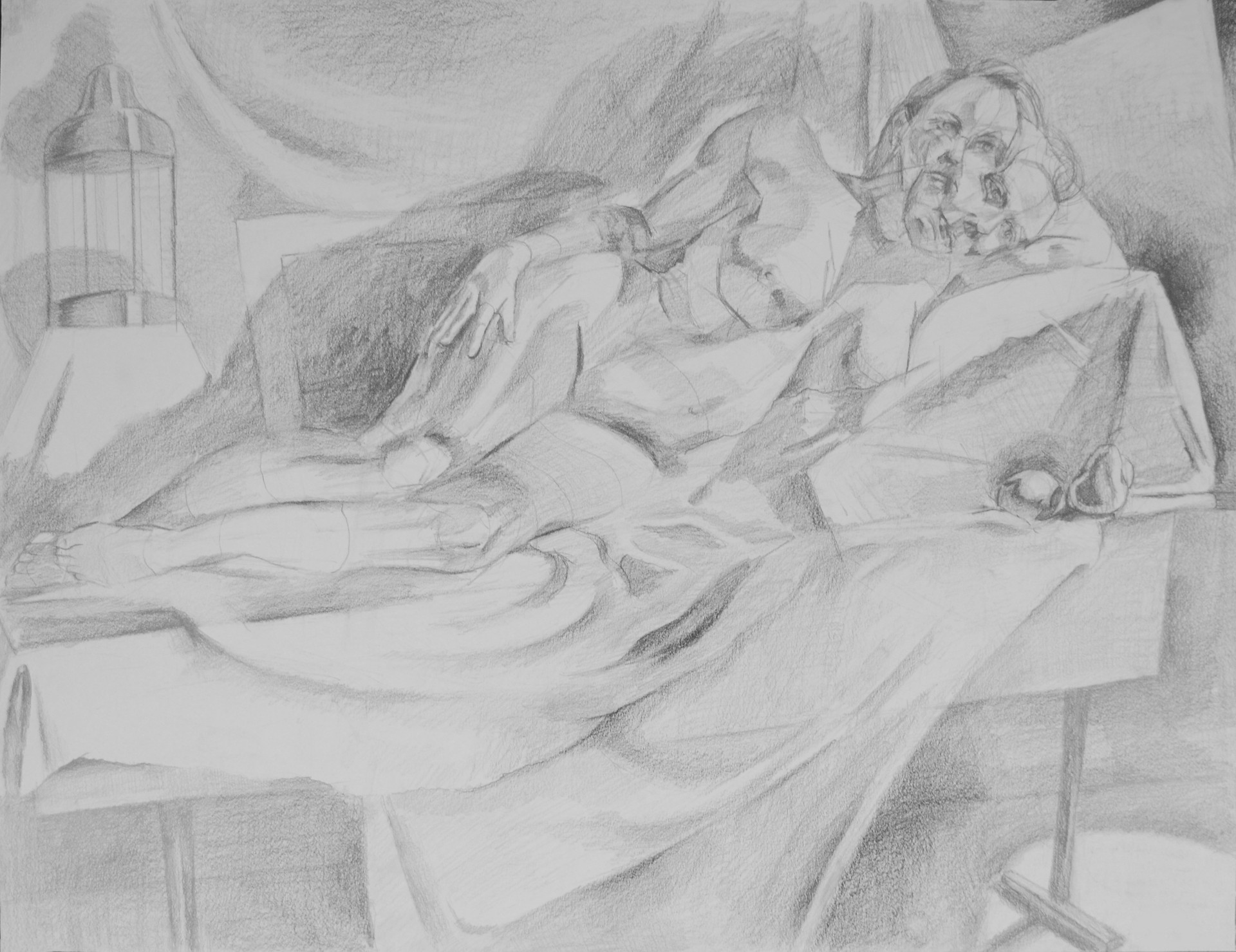 """Figure and Aviary Graphite on Paper 18"""" x 24"""" 2016"""