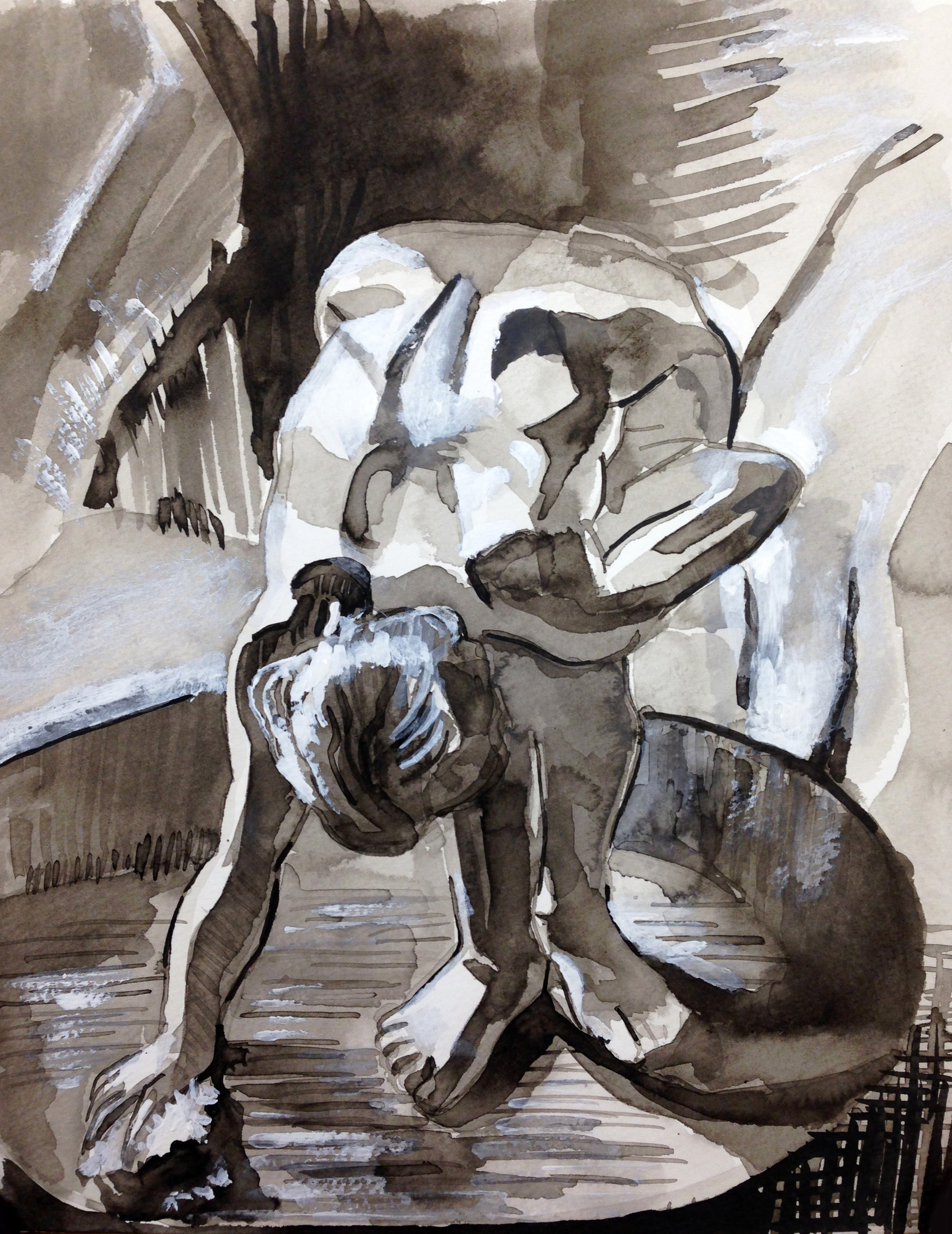 """After Degas Ink and white gouache on paper 14"""" x 11"""" 2018"""