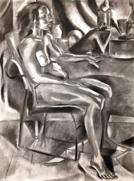 """9.  """"Alex Sitting in Chair"""" Charcoal on paper 24"""" x 18"""" 2018"""