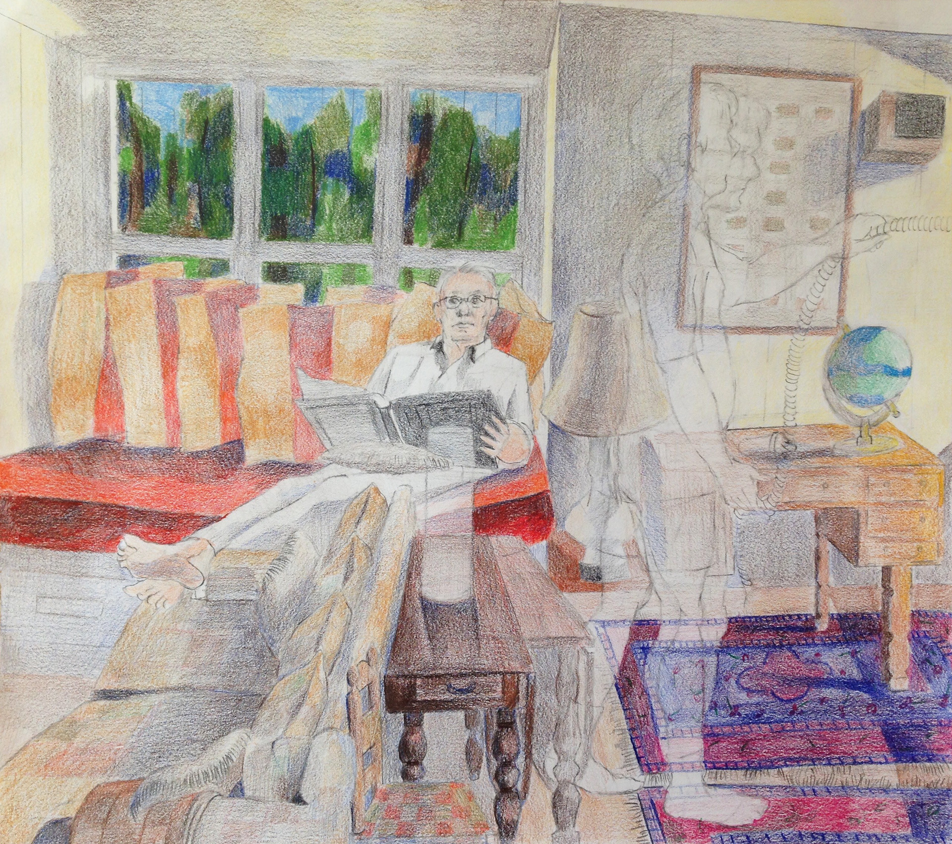 """Red Couch Ownership Colored pencil on paper 14"""" x 20"""" 2017"""