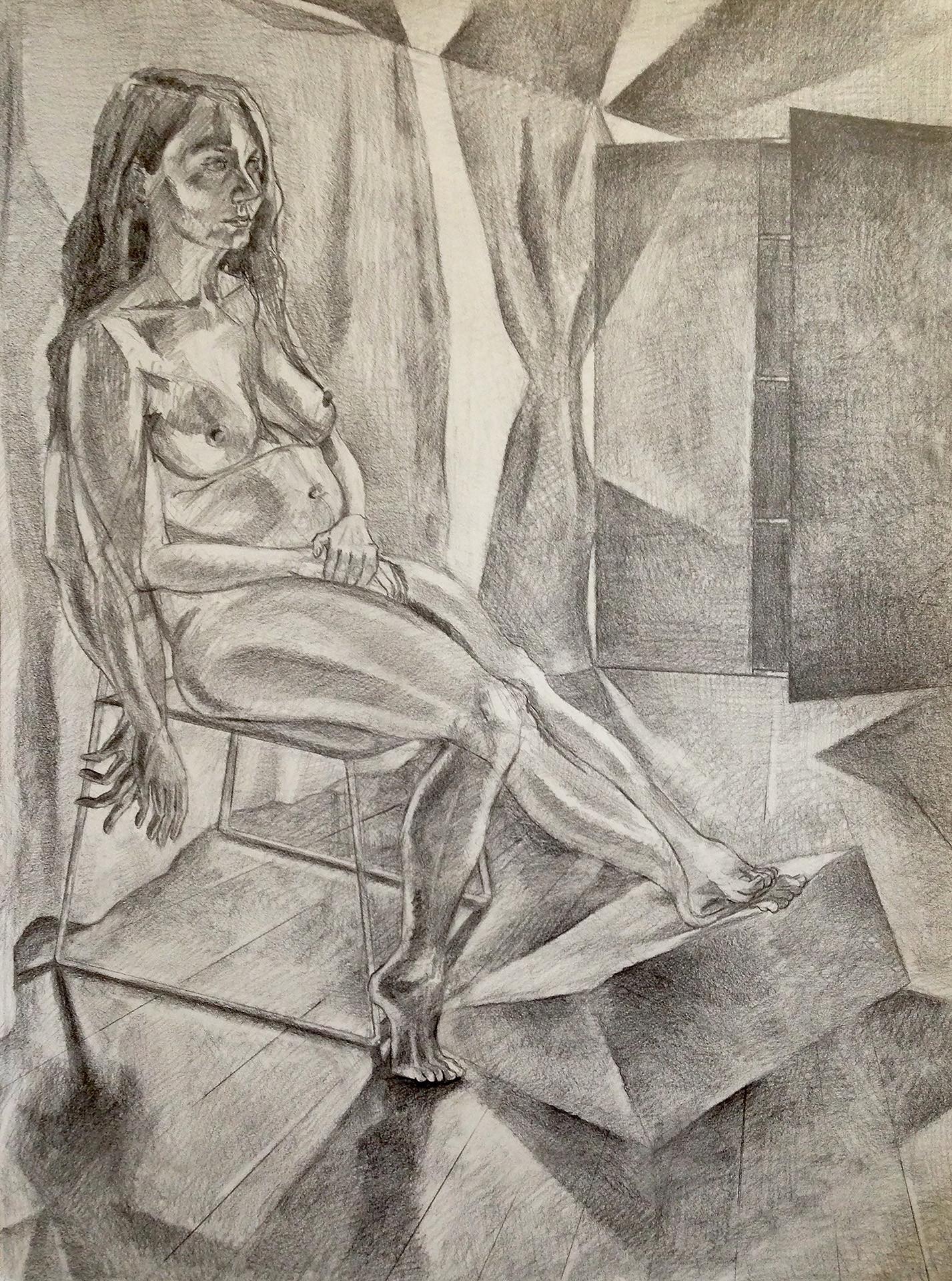 "Stephanie Sitting Graphite on Paper 24"" x 18"" 2016"