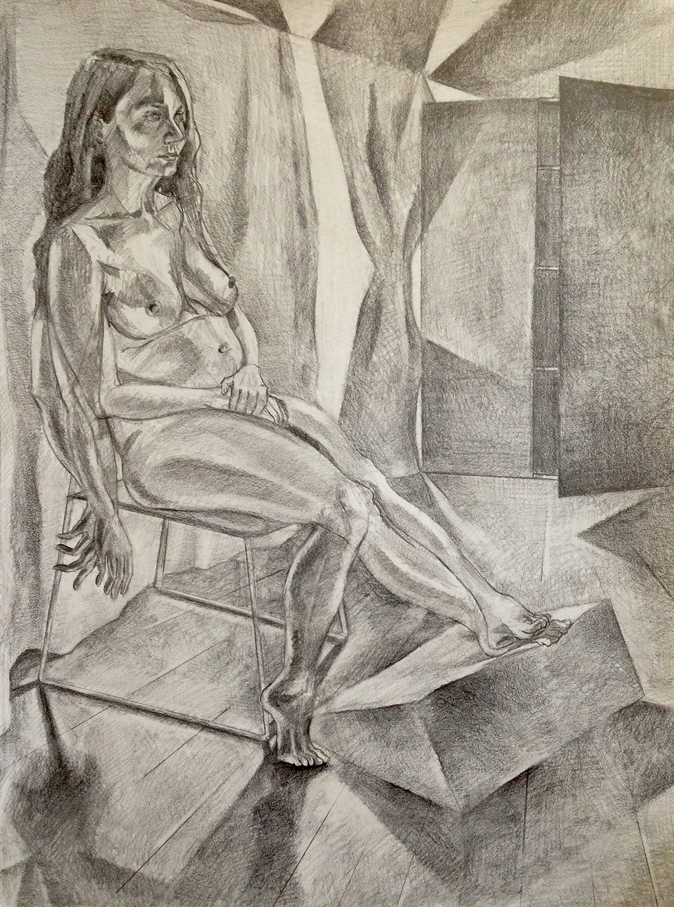 "6.  ""Stephanie Sitting"" Graphite on paper 24"" x 18"" 2017"