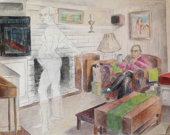 """TV Room Ownership Colored pencil on paper 14"""" x 20"""" 2017"""