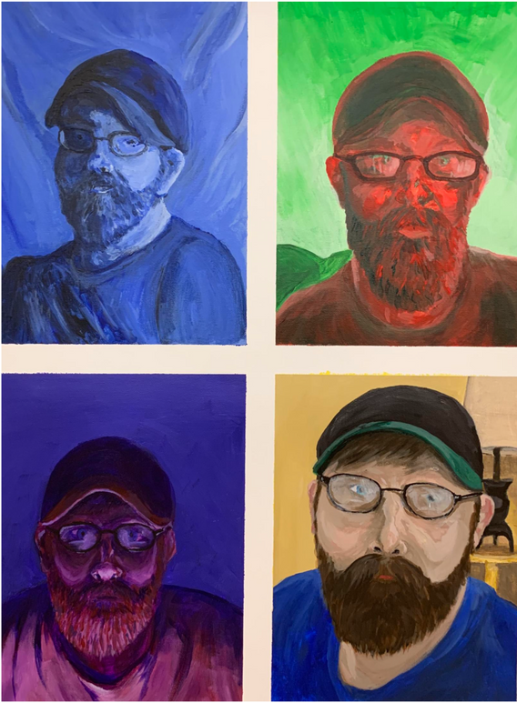 """6.  """"Self-portrait"""", color schemes, acrylic on canvas, Painting I, Fall 2018"""
