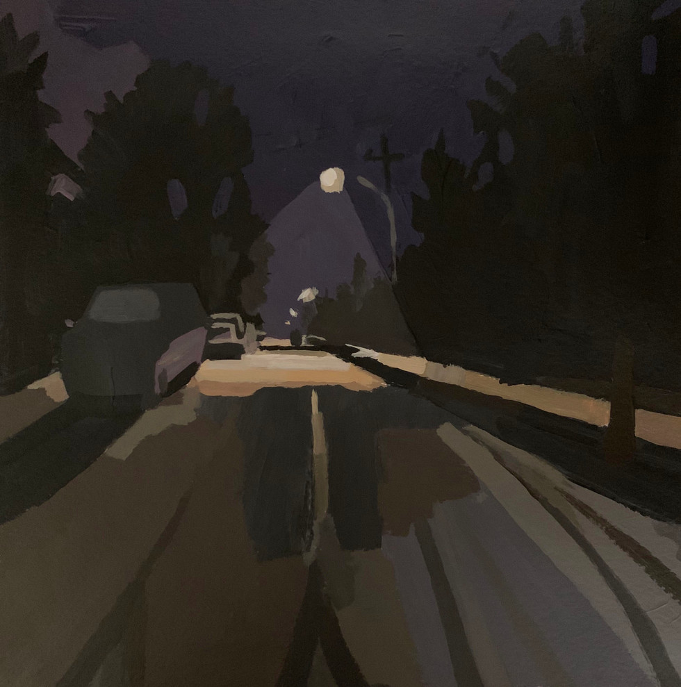 "2.  ""Night Tracks"" Acrylic on paper 8"" x 8""  2020"